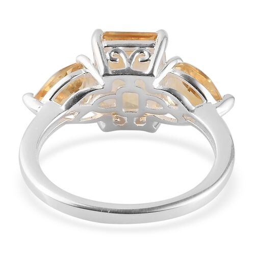 MP Citrine Three Stone Ring in Sterling Silver 3.47 Ct.