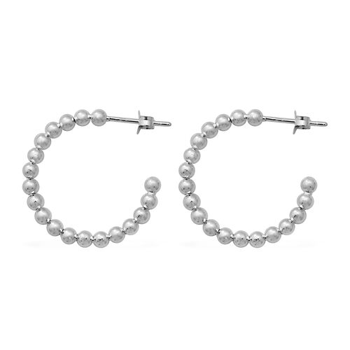 Sterling Silver Bead Hoop Earrings (with Push Back), Silver wt 3.02 Gms
