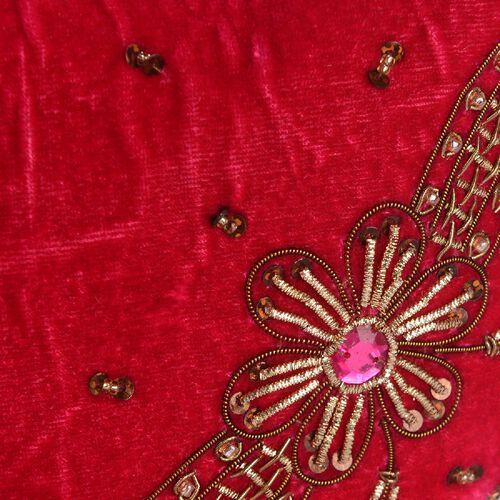 Weaved Embellishment Velvet Potli Bag (Size 16.51x24.13 Cm) - Red