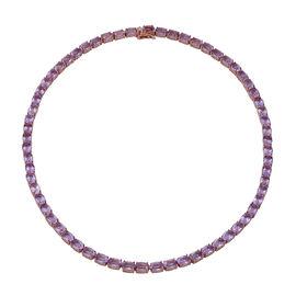 Rose De France Amethyst (Ovl 7x5 mm) Necklace (Size 17) in Rose Gold Overlay Sterling Silver 46.80 C