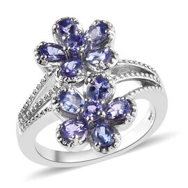 1.50 Ct Tanzanite Twin Floral Ring in Platinum Plated Sterling Silver 5.05 Grams