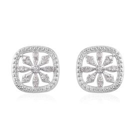 Diamond (Rnd) Stud Earrings (with Push Back) in Platinum Overlay Sterling Silver 0.15 Ct.