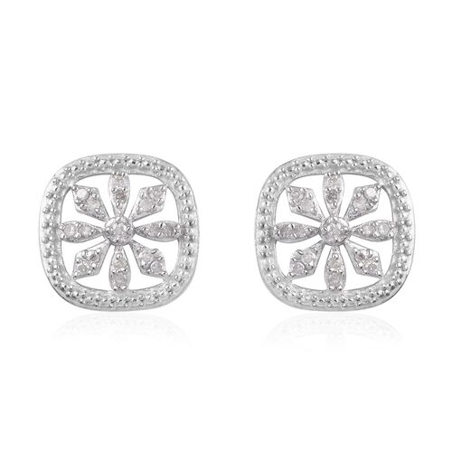 0.15 Ct Diamond Floral Stud Earrings in Platinum Plated Sterling Silver