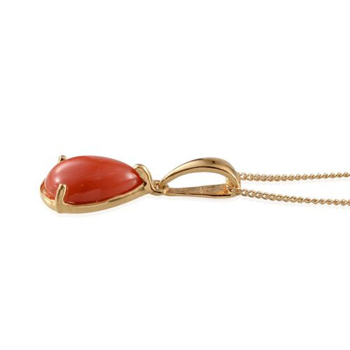 Natural Mediterranean Coral (Pear) Solitaire Pendant With Chain in 14K Gold Overlay Sterling Silver 1.500 Ct.
