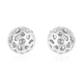 RACHEL GALLEY Rhodium Overlay Sterling Silver Globe Stud Earrings (with Push Back)