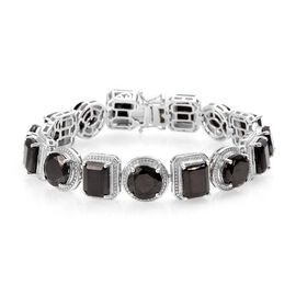 24.50 Ct Elite Shungite Tennis Design Bracelet in Platinum Plated Sterling Silver 7 Inch