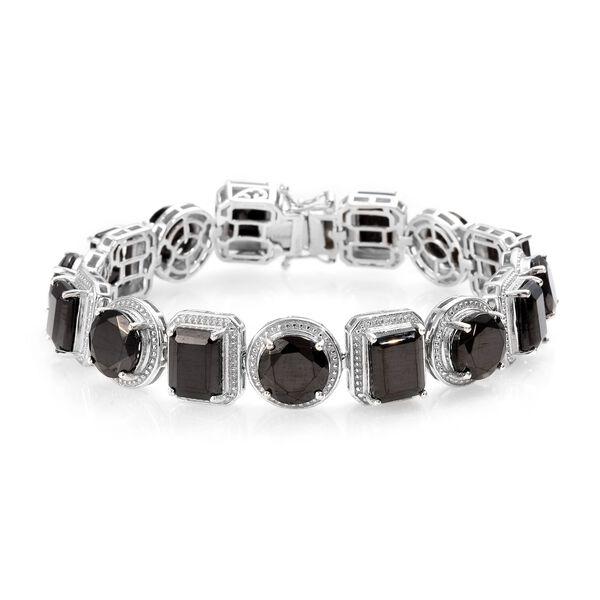 24.50 Ct Elite Shungite Tennis Design Bracelet in Platinum Plated Sterling Silver 7 Inch