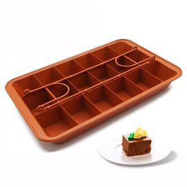 Brownie Pan with Dividers and Removable Loose Bottom (Size 38x20.5x6.5 Cm) - Copper Coated