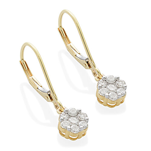 9K Yellow Gold SGL Certified Diamond (Rnd) (I3/G-H) Earrings (with Lever Back) 0.500 Ct.