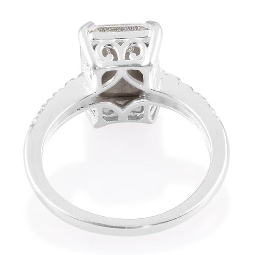 J Francis Crystal from Swarovski - White Crystal Solitaire Ring in Sterling Silver