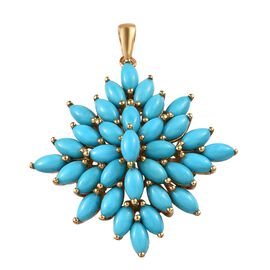 Arizona Sleeping Beauty Turquoise (Mrq) Cluster Pendant in 14K Gold Overlay Sterling Silver 9.50 Ct,