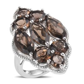 9.25 Ct Brazilian Smoky Quartz Cluster Ring in Brass