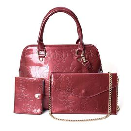 3 Piece Set - Rose Floral Embossed Tote Bag, Clutch and Card Bag with Detachable Shoulder Strap - Bu