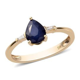 9K Yellow Gold AA Burmese Blue Sapphire and Diamond Ring 1.25 Ct.