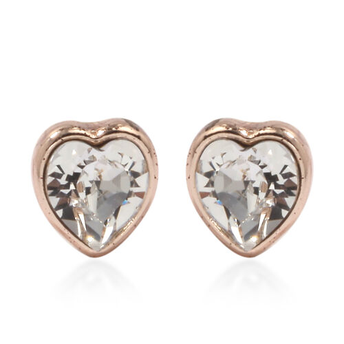 2 Piece Set - ETERNITY Crystal from Swarovski Heart Necklace (Size 18 with 2 inch Extender) and Earrings (with Push Back) in Rose Gold Tone