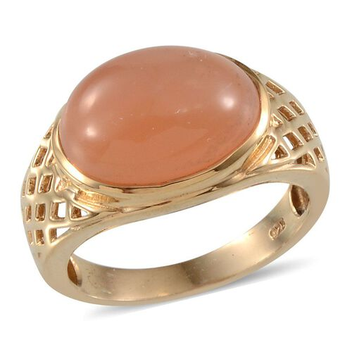 Mitiyagoda Peach Moonstone (Ovl) Solitaire Ring in Yellow Gold Overlay Sterling Silver 7.750 Ct.