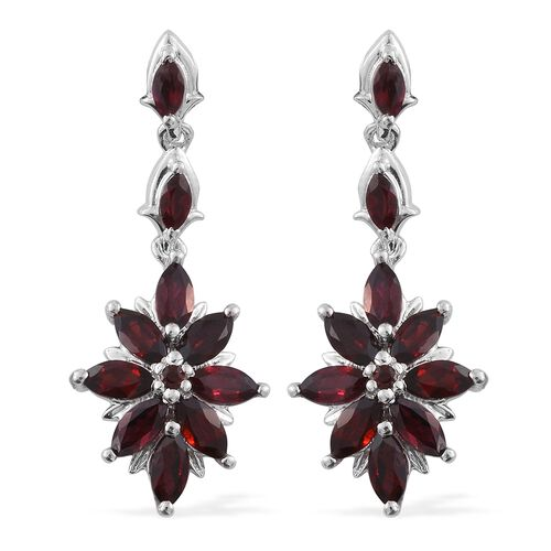 Arizona Anthill Garnet (Mrq) Floral Earrings (with Push Back) in Platinum Overlay Sterling Silver 3.