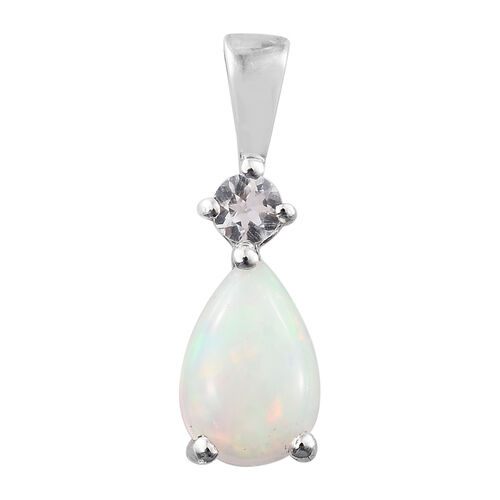 Ethiopian Welo Opal (Pear), White Topaz Pendant in Platinum Overlay Sterling Silver 1.000 Ct.