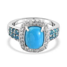 Arizona Sleeping Beauty Turquoise, Neon Apatite and Natural Cambodian Zircon Ring in Platinum Overla