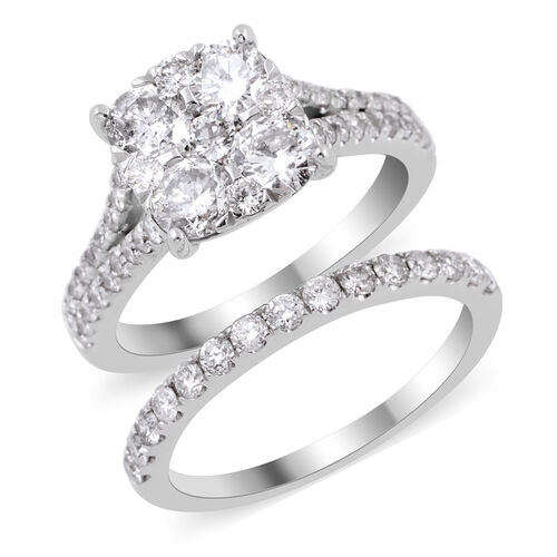 Set of 2 - New York Close Out Deal -14K White Gold Diamond (Rnd) (SI - I1/G-H) Ring 2.260 Ct, Gold w