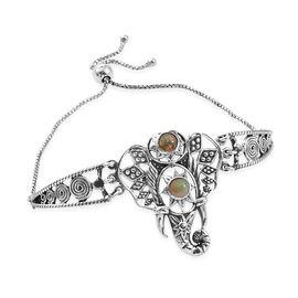 0.71 Ct Ethiopian Opal Elephant Bracelet in Sterling Silver 11.66 Grams