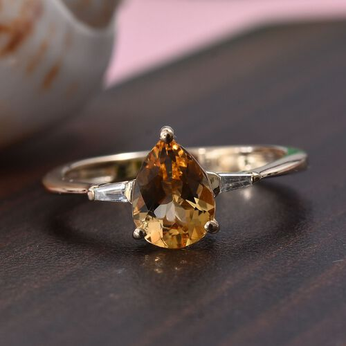 9K Yellow Gold AA Imperial Topaz and Diamond (I3/G-H) Ring 1.10 Ct.