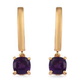 Amethyst Dangling Earrings (with Push Back) in 14K Gold Overlay Sterling Silver 1.79 Ct.