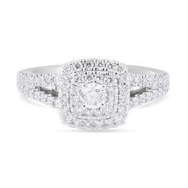 14K White Gold Diamond (I1/ G-H) Cluster Ring 0.75 Ct.