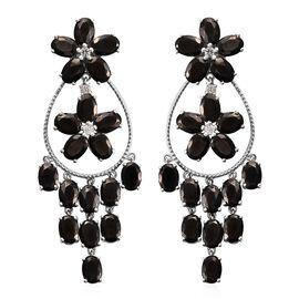 Elite Shungite (Ovl), Natural Cambodian Zircon Dangle Earrings (with Push Back) in Platinum Overlay