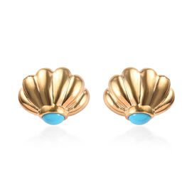 1.33 Ct Arizona Sleeping Beauty Turquoise Stud Earrings in Gold Plated Sterling Silver
