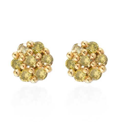 Yellow Diamond (Rnd) Stud Earrings (with Push Back) in Gold and Platinum Overlay Sterling Silver 0.2