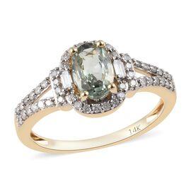 14K Yellow Gold AAA Narsipatnam Alexandrite (Ovl), Diamond (I3/G-H) Ring 1.18 Ct.