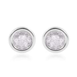 9K W Gold SGL Certified Diamond (I3 / G-H) (Rnd) Stud Earrings (with Push Back) 0.250 Ct.