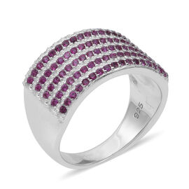 ELANZA Simulated Ruby (Rnd), Simulated Diamond Ring in Rhodium Overlay Sterling Silver, Silver wt 5.