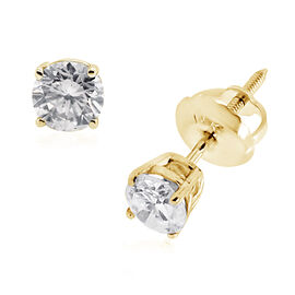 14K Yellow Gold EGL Certified Diamond (Rnd) (I1-I2/G-H) Solitaire Stud Earrings (with Screw Back) 0.