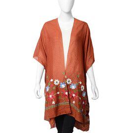 Floral Embroidery Kimono with Dot Pattern (Size 90x90 Cm) - Brick Colour