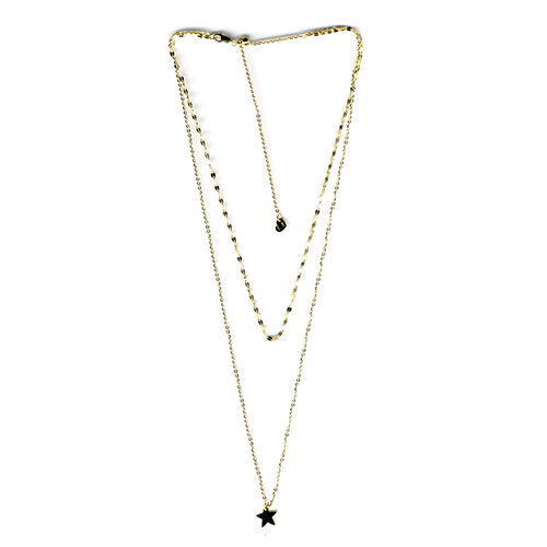 9K Yellow Gold Double Strand Adjustable Necklace With Star Charm (Size 14 to 18)