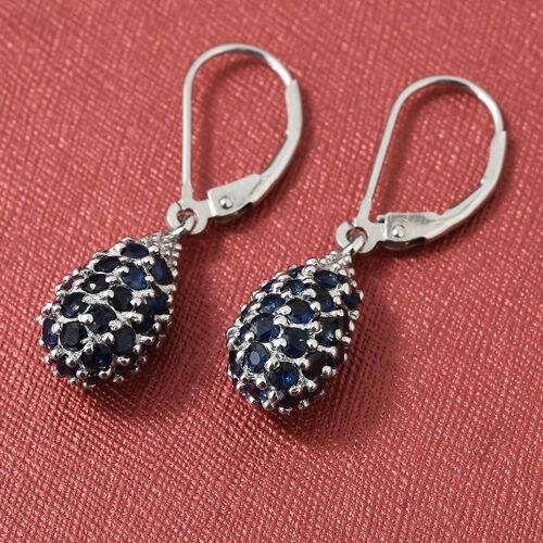 Kanchanaburi Blue Sapphire (Rnd) Lever Back Earrings in Platinum Overlay Sterling Silver 3.000 Ct.