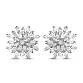 Diamond Snow Flake Earrings (with Push Black) in Platinum Overlay Sterling Silver 0.33 Ct