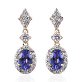 9K Yellow Gold AA Tanzanite and Natural Cambodian Zircon Earrings (with Push Back) 2.75 Ct.