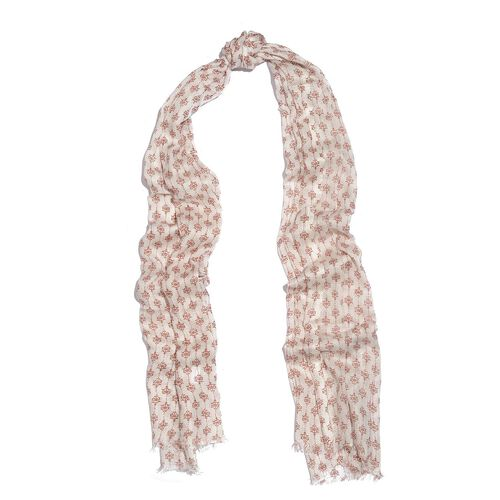 Designer Inspired-Maroon and Cream Colour Ikat Pattern Scarf (Size 180x70 Cm)
