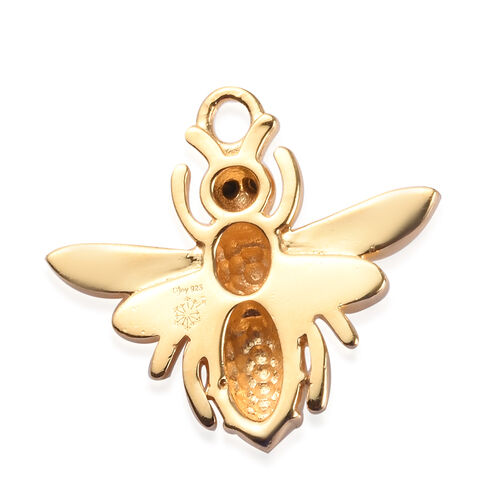 Sundays Child - Boi Ploi Black Spinel Honeybee Chram in Yellow Gold Vermeil Sterling Silver 0.05 Ct.
