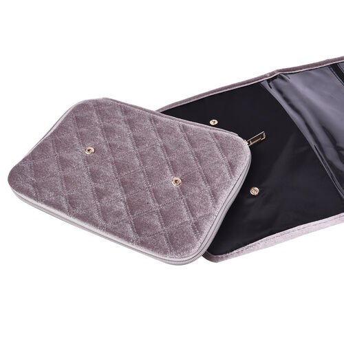 Foldable Travel Jewellery Storage Pouch with Hanging Hook in Silver Colour
