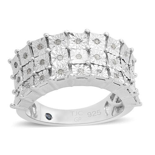 GP White Diamond (Rnd), Blue Diamond Ring in Platinum Overlay Sterling Silver 0.150 Ct,