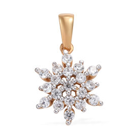 Natural Cambodian Zircon (Rnd) Snowflake Pendant in 14K Gold Overlay Sterling Silver 1.000 Ct.