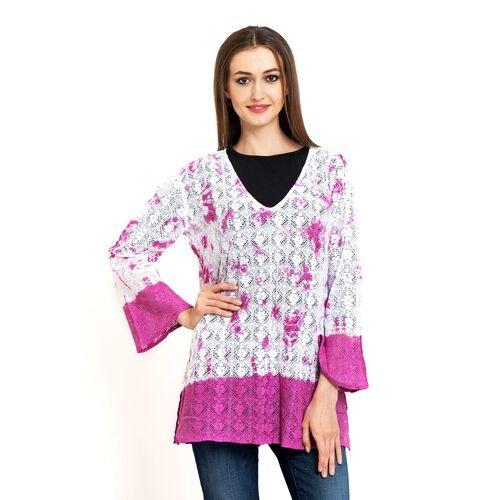100% Cotton Laser Cut Floral Pattern White and Pink Colour Ombre Effects Poncho (Size 70x50 Cm)