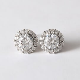 J Francis Platinum Overlay Sterling Silver Stud Earrings (with Push Back) Made with SWAROVSKI ZIRCONIA 3.31 Ct.