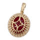 9K Yellow Gold AA African Ruby (FF) and Diamond Halo Pendant 7.84 Ct.