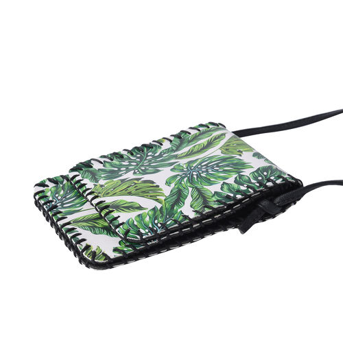 Water Resistant Leaf Print Sling Bag with Button Closure (Size 12.5x18cm) - White