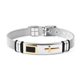 Cross Mens Bracelet with Mesh Chain in Gold and Silver Plated Stainless Steel 6.5 to 8.5 Inch